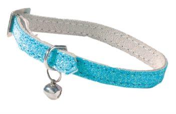 Bobby kattenhalsband glitter licht blauw