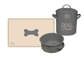 Banbury & co giftset hond placemat / voerbak / voorraadpot tin