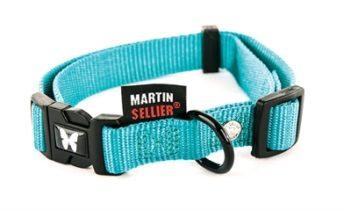 Martin sellier halsband nylon turquoise verstelbaar