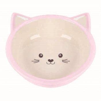 Happy pet voerbak kitten roze / creme