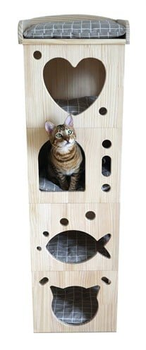Rosewood kattenmand toren cave massief hout