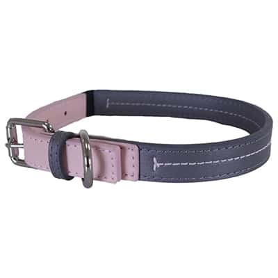Rosewood halsband hond leer babyroze / donkergrijs