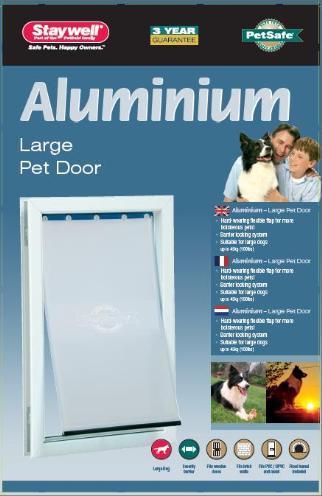 Petsafe hondenluik tot 45 kg aluminium wit