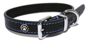 Luxury leather halsband hond leer luxe zwart (1,3×25-36 cm)