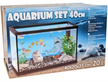 Aquarium set 40cm met filter met deco haai