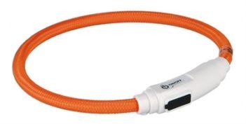 Trixie halsband kat flash light lichtgevend usb oplaadbaar oranje (7 mmx35 cm)