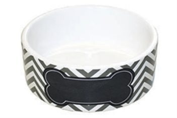 Happy pet pet platter voerbak hond chevron bot grijs / wit / zwart (1400 ml 18x18x8 cm)