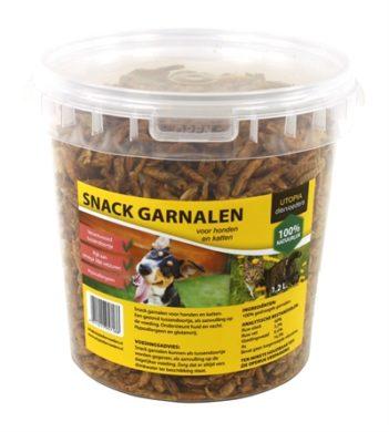 Gedroogde snack garnalen voor hond en kat (1,2 ltr)
