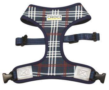 Croci hondentuig cambridge tweezijdig ruit / visgraat blauw / rood (35-45 cm)