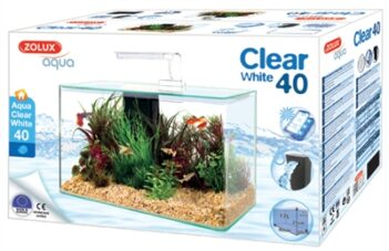 Zolux aquarium clear kit wit (17 LTR 40X20X33 CM)