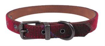 Joules halsband hond heritage tweed leer rood (25,5-35,5×1,5 cm)