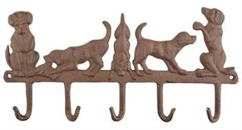 Hanger 5 honden gietijzer (35,5×2,5×17,5 cm)