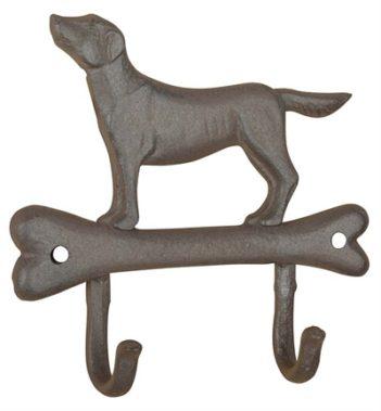 Haak hond op bot gietijzer (19,5x5x18,5 cm)