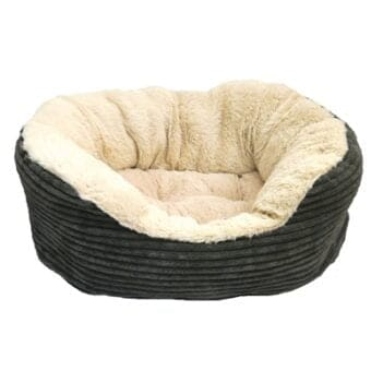 Rosewood hondenmand ovaal jumbo cord pluche grijs / creme (51 CM)