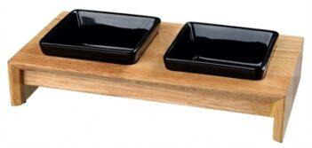 Trixie voerset keramiek met houten onderstel zwart (200 ML 28X15X5 CM)