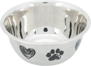 Trixie voerbak hond print schets hart pootje gepoedercoat (500 ML 13 CM)