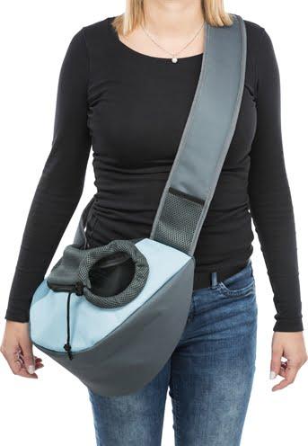 Trixie buikdrager sling draagtas lichtgrijs / lichtblauw (50X18X25 CM)