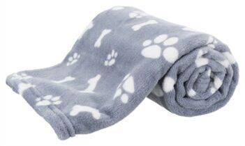 Trixie hondendeken kenny fleece bot / pootjes blauw (75X50 CM)