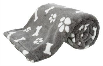 Trixie hondendeken kenny fleece bot / pootjes grijs (75X50 CM)