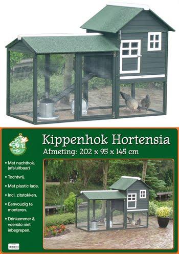 Kippenhok hout+nachthok hortensia