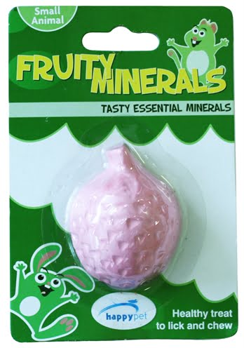 Happy pet fruity mineral aardbei (5,5X4,5X2,3 CM)