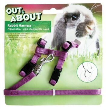 Happy pet konijnen harnas en looplijn paars (20-30 CM 25-40 CM)