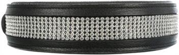 Trixie halsband hond active comfort met strass steentjes leer zwart (23-28X1,5 CM)