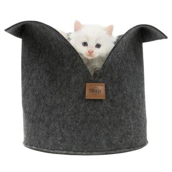 Trixie kattenmand luise rond vilt antraciet (30X30 CM)