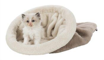 Trixie kattenmand slaapzak amira taupe / creme (50X30X30 CM)