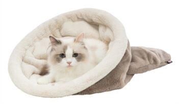 Trixie kattenmand slaapzak amira taupe / creme (60X40X40 CM)