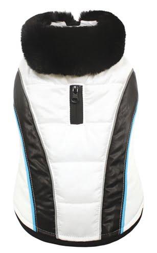 Croci hondenjas mont blanc reflecterende stof wit zwart (45 CM)